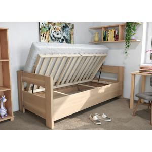 Drevená posteľ Ela s opierkou a úložným priestorom