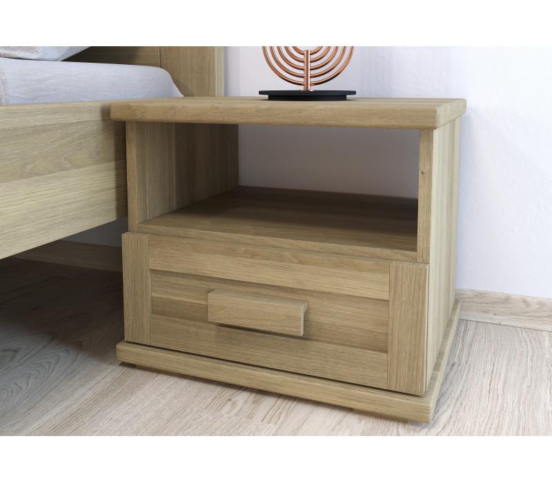 Dubový nočný stolík Laura jednozásuvkový