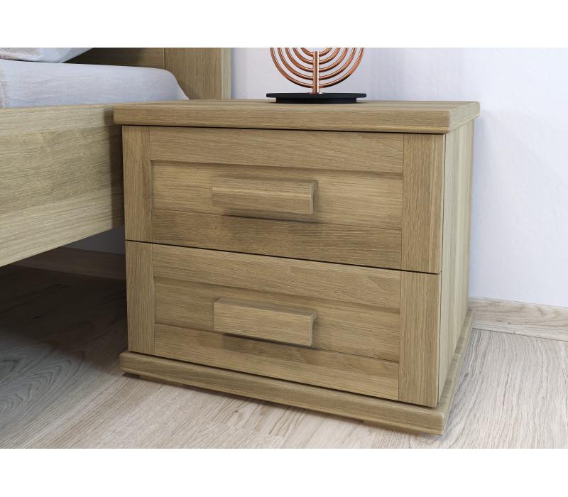 Dubový nočný stolík Laura dvojzásuvkový